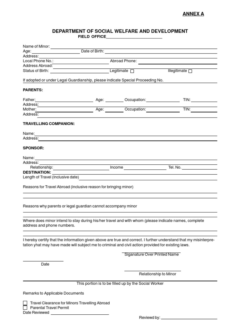 Dswd forms for minors travelling abroad affidavit parent altavistaventures Images