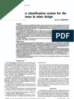 1990 Laubscher Geomechanics Classification System