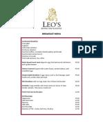 Leo's Bistro & Lounge Menu