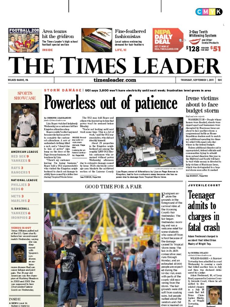 Times Leader 09 01 2011 Wilkes Barre Powerball Cut Off Machine Hitachi 16 Cc 16sb Include Ppn