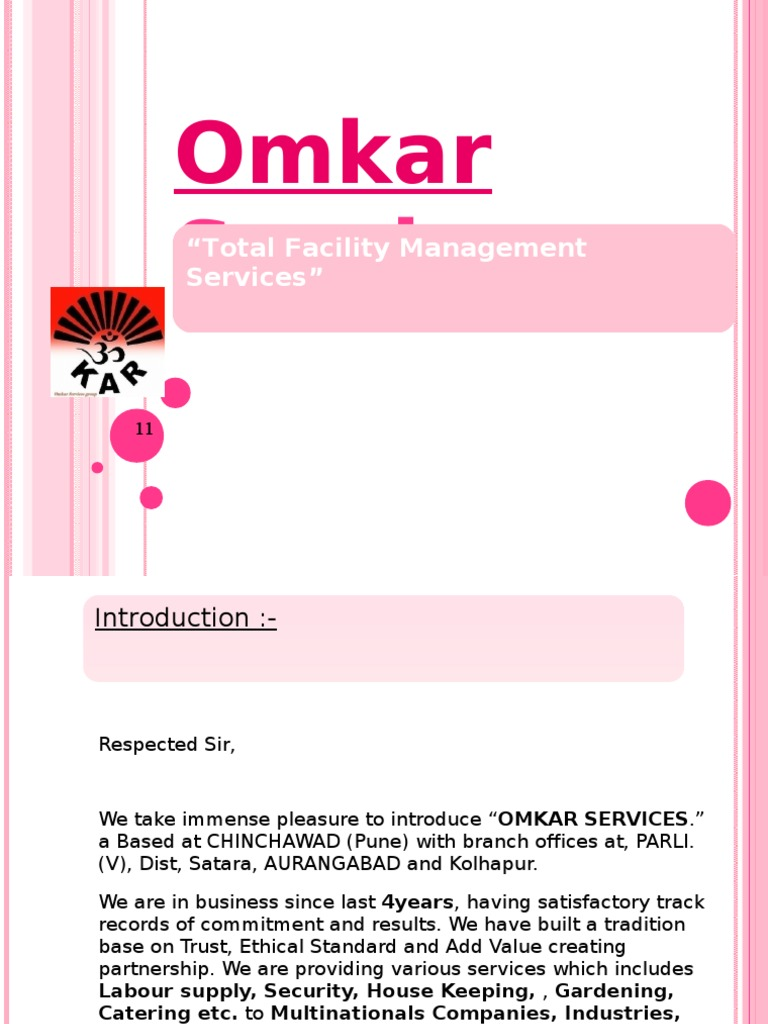 Omkar Services Group Contract Presentation | Housekeeping | Employment