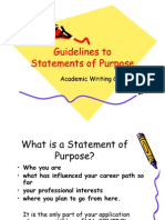 Guidelines to Statements of Purpose