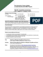 UT Dallas Syllabus for opre6301.mim.11f taught by Kurt Beron (kberon)