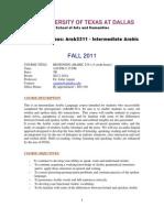 UT Dallas Syllabus for arab2311.001.11f taught by Zafar Anjum (zxa110730)