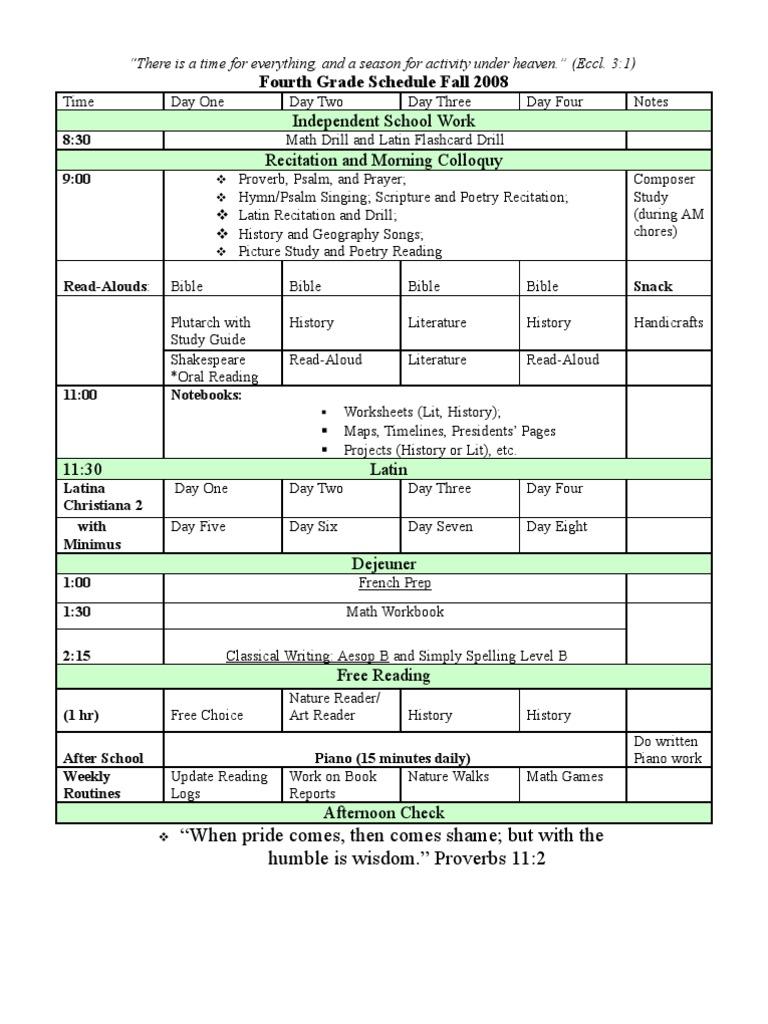 Fourth Grade Schedule | Bible | Religious Literature