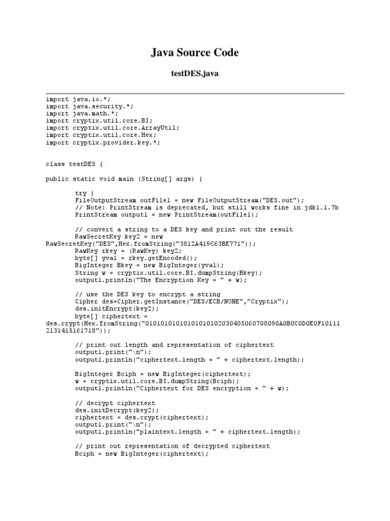 Java Source Code | Cipher | Security Engineering