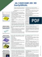 Información técnica del programa de CAD/CAM CharlyGraal, en castellano