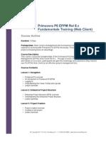 Primavera P6 EPPM Fundamentals Course Outline