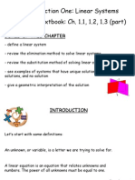Linear Systems - Ch. 1.1, 1.2, 1.3 (Part)