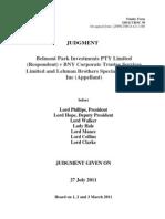 LBHI 20110727 UK Supreme Court Decision in Favor of Belmont Park Note Holders