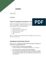 Cyprus Tax Legislation Amendments August 2011