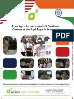 Aries Agro farmers meet US President Obama at the Agri Expo in Mumbai - Nov 2010
