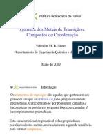 Química dos Metais de Transição e Compostos de Coordenação imprimir