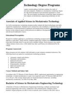 Mechatronics Technology Degree Programs