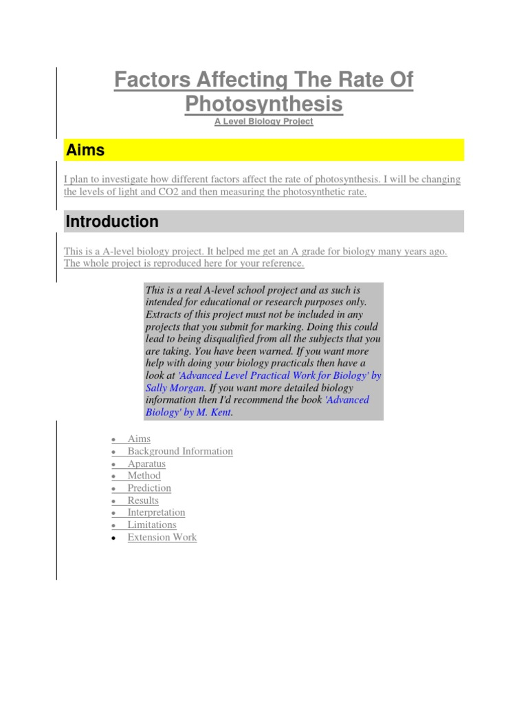 five factors affecting photosynthesis