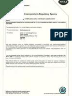 MHRA Certificate GMP Compliance