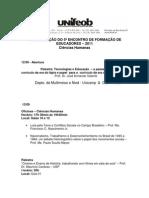 PROGRAMAÇÃO DO 5º ENCONTRO DE FORMAÇÃO DE EDUCADORES – 2011
