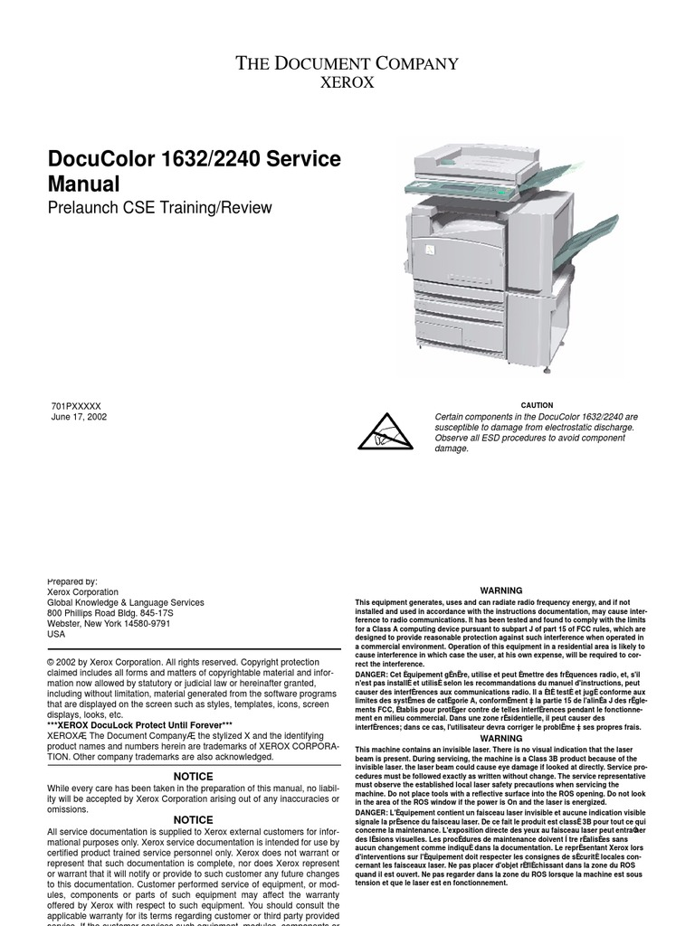 Xerox DocuColor 1632 2240 Service Manual | Electrostatic Discharge |  Reliability Engineering