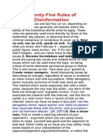 Twenty Five Rules of Disinformation