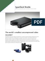 Blackmagic Design HyperDeck Shuttle - The world's smallest uncompressed video recorder!