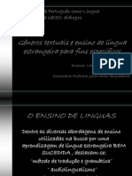 Gêneros textuais e ensino de língua estrangeira para