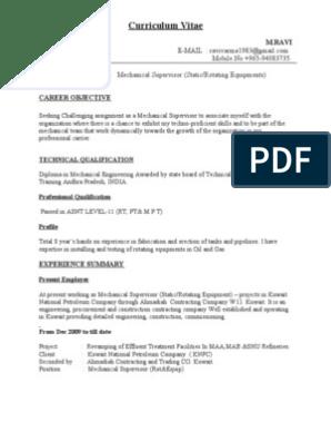 CV for Mechanical Supervisor   Gas Compressor   Petroleum