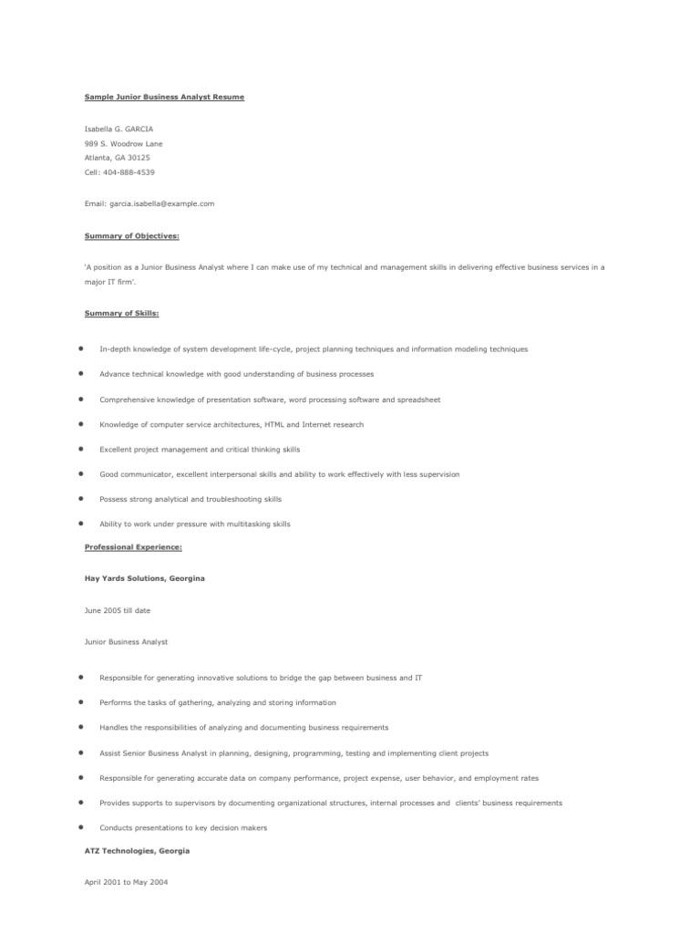 Ungewöhnlich Lebenslauf Profil Zusammenfassung Für Business Analyst ...