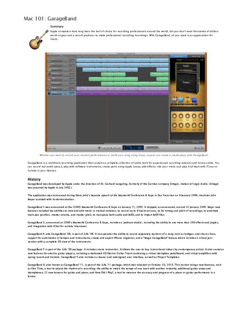 08 Garageband   Garage Band   Audio Engineering