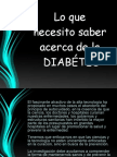 lo que necesito saber de  Diabetes