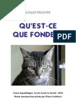 17303564 Gilles Deleuze QuEstce Que Fonder 1956[1]