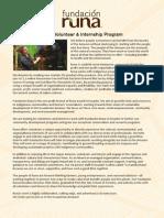 Fundacion Runa Internship Program