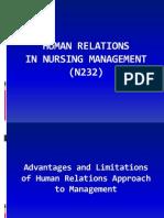 Human Relations in Nursing Management (n232)