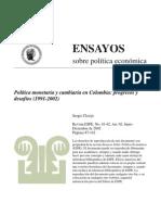 CLAVIJO Sergio- Política monetaria y cambiaria en Colombia progresos y desafíos (1991-2002)