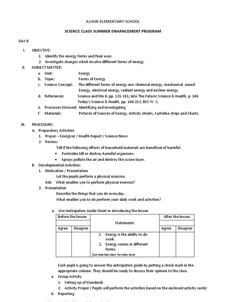 Lesson plan in science 6 forms of energy and their uses forms lesson plan in science 6 forms of energy and their uses forms of energy lesson plan robcynllc Images