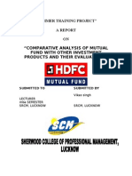 """HDFC Final reportCOMPARATIVE ANALYSIS OF MUTUAL FUND WITH OTHER INVESTMENT PRODUCTS AND THEIR EVALUATIONS"""""""