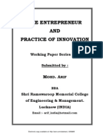 The Entrepreneur And Practice Of Innovation