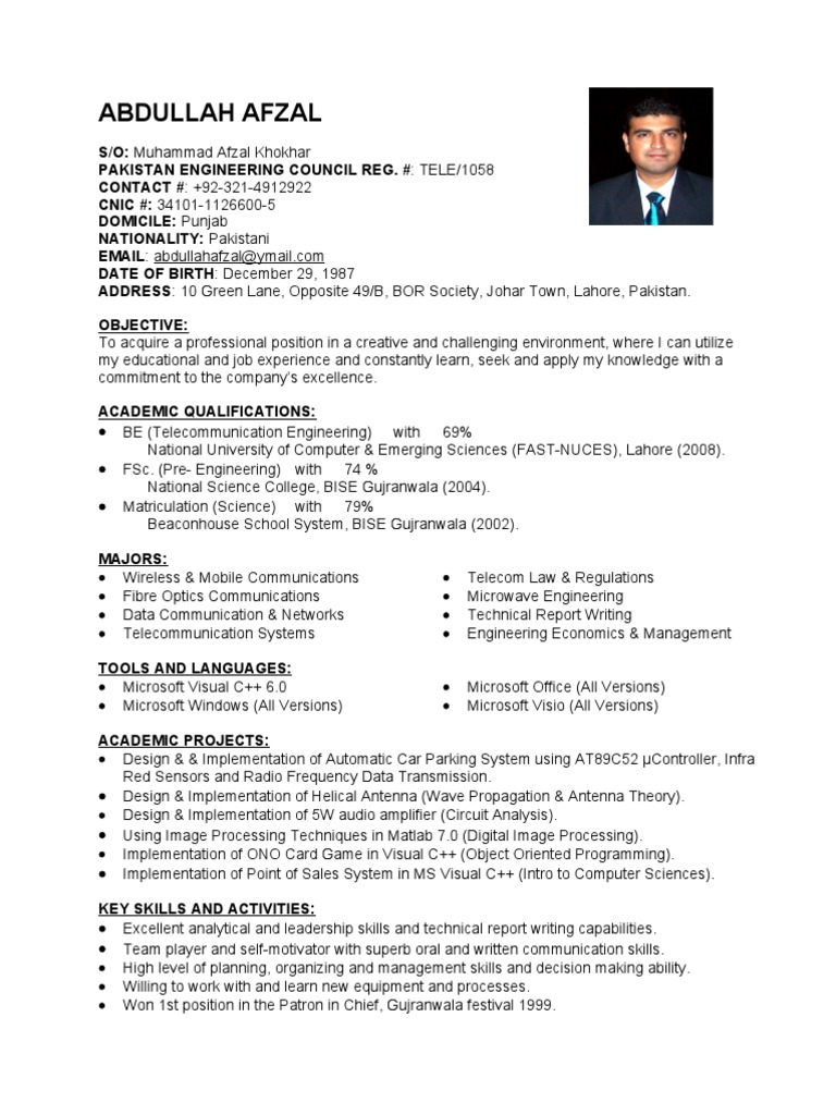 engineer sample resume communication engineer sample resume fresh telecom engineer - Dam Safety Engineer Sample Resume