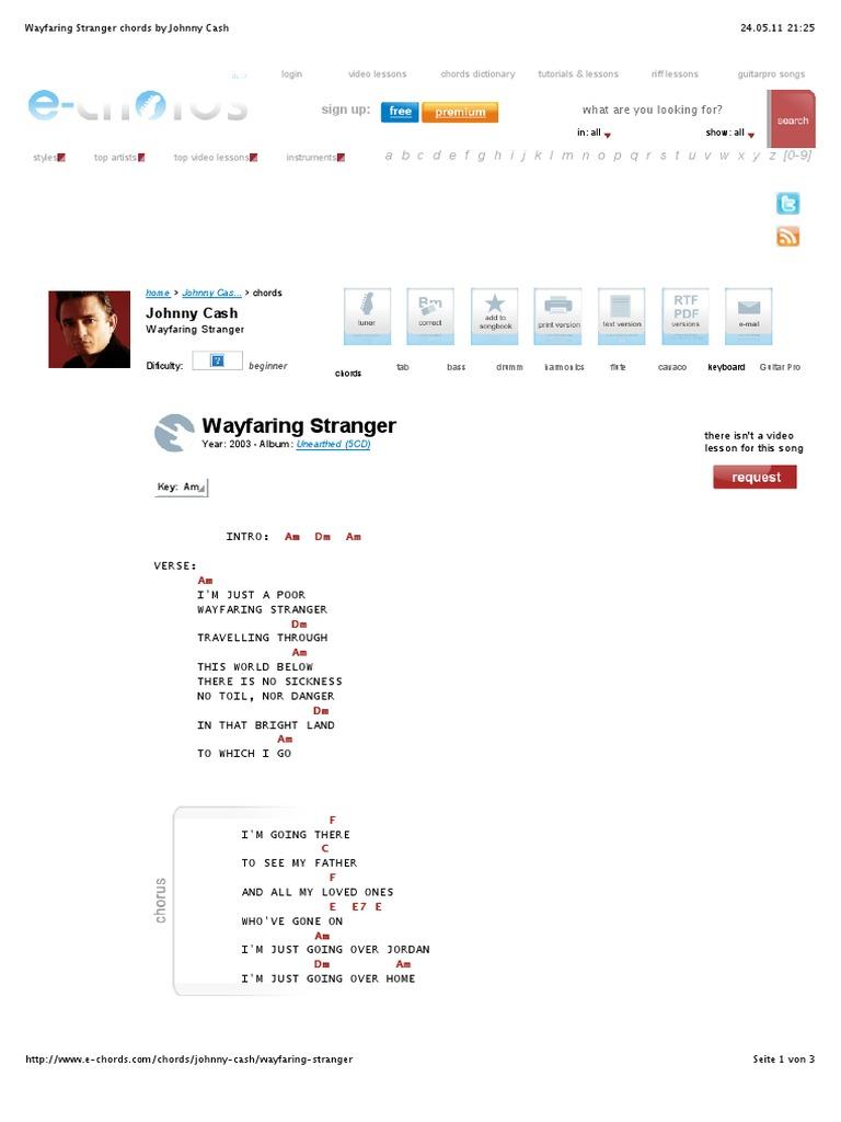 Wayfaring Stranger Chords By Johnny Cash