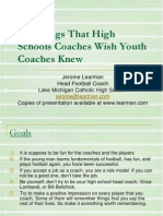 100 Things That High School Coaches Wish Youth Coaches Knew
