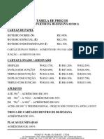 Tabela de Precos - Outdoor - 2011
