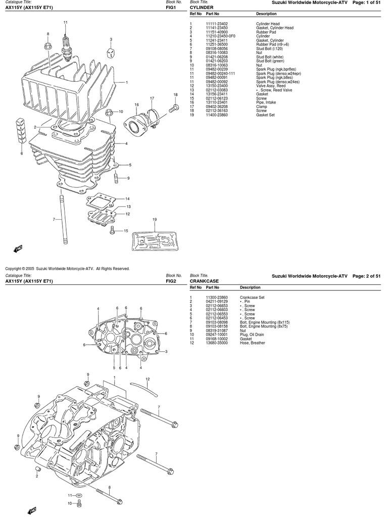 Despiece Suzuki AX100-115