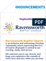 Ravensworth Baptist Church Announcements, September 4, 2011