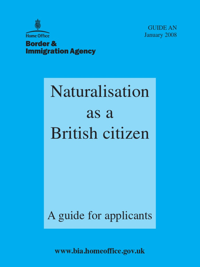 NATURALISATION AS A BRITISH CITIZEN   Naturalization   English As A Second  Or Foreign Language