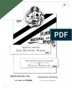 Himno Nacional Del Peru, Rest Aura Do Por Rebagliati en 1869. Edicion de 1901