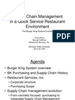 Supply Chain Management in a Quick Service Restaurant Chain