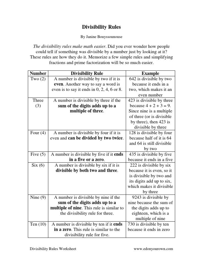 Worksheets Divisibility Rules Worksheet 1526402678v1
