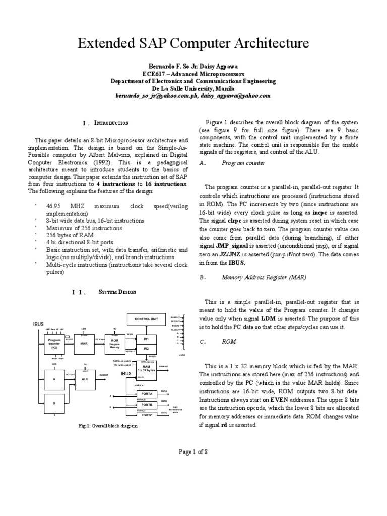 Msap Project So Instruction Set Random Access Memory Sap 1 Block Diagram