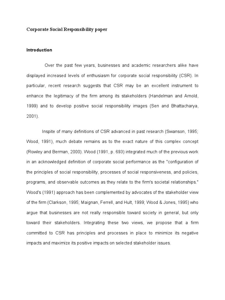 corporate social responsibility paper