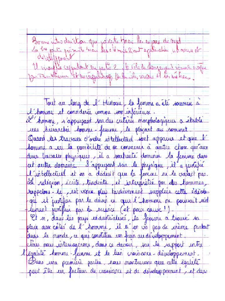 Exemple de bonne copie sur une question de synthèse n°1