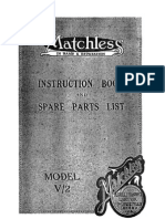 1929 Matchless V2 Instruction Book and Spares List